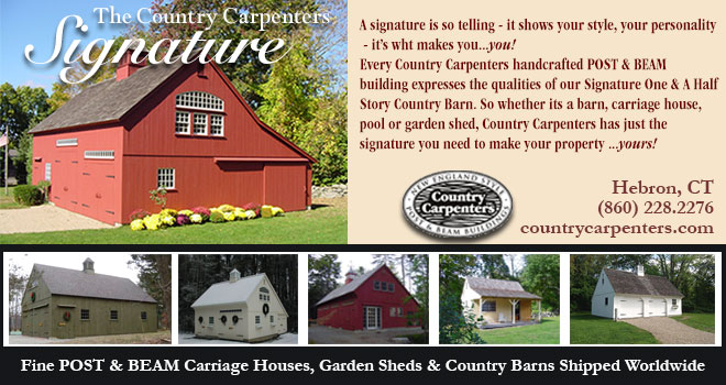 The Country Carpenters Signature. A signature is so telling - it shows your style, you personality - it's waht makes you...you! Every Country Carpenters handcrafted POST & BEAM building expresses the qualities of our Signature One & A Half Story Country Barn. So whether its a barn, carriage house, pool or garden shed, Country Carpenters has just the signature you need to make your property...yours!